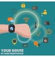 Smart home detectors controlling via smartwatch vector image vector image