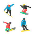 snowboarder jump in different pose people vector image vector image