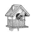 starling near birdhouse sketch vector image vector image