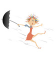 Strong wind rain and woman with umbrella