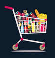 supermarket shopping cart full fresh healthy vector image