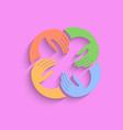 teamwork hands logo template pink vector image