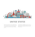 the symbols of america in line style vector image vector image