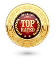 Top rated medal - rating golden insignia vector image vector image