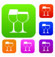 two glasses of wine set color collection vector image vector image