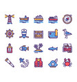 voyage items color linear icons set vector image vector image
