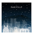 winter night in marseille night city vector image vector image