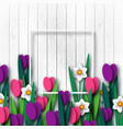 wooden texture with paper cut spring flowers vector image vector image