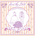 Save the datecard template with Hand drawn wedding vector image
