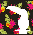white silhouette toucan tropical flowers and vector image