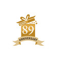 89 years gift box ribbon anniversary vector image vector image
