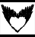 abstract white heart on black wings vector image vector image