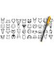 animals doodle set vector image vector image