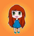 anime cute little cartoon girl with red long hair vector image
