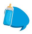 bamilk bottle with speech bubble vector image vector image