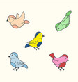 birds in vintage style vector image