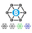 bitcoin euro financial network flat icon vector image vector image