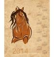 Calendar 2014 horse sketch on grunge paper vector image vector image