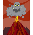 Cartoon Erupting Of Volcano With A Black Cloud