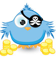 cartoon pirate sparrow vector image vector image