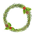 christmas wreath decorations watercolor style vector image