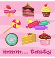 collection cupcakes croissants donuts sweets vector image