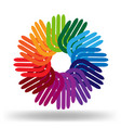 colorful hands in circle group icon vector image