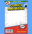 comic book cover comics magazine template vector image vector image