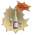 comic bottle and glasses vector image vector image
