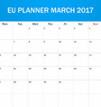 EU Planner blank for March 2017 Scheduler agenda vector image vector image