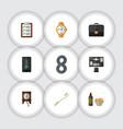 flat icon lifestyle set of bureau questionnaire vector image vector image