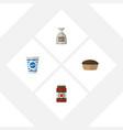 flat icon meal set of ketchup yogurt sack and vector image vector image