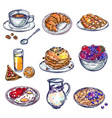 Food breakfast icon set vector image