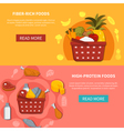 Food Supermarket Horizontal Banners vector image vector image