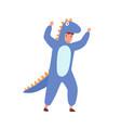 funny boy in dinosaur costume raising hands make vector image vector image