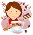 girl hugging coffee cup cartoon with cherry pie vector image vector image