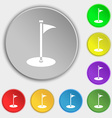Golf icon sign Symbol on eight flat buttons vector image vector image
