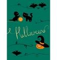 halloween greeting card black cats pumpkin bats vector image