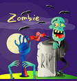 halloween poster with zombie near rip gravestone vector image
