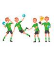 handball male player attack jump shooting vector image vector image