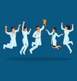 isometrics doctors jump happiness surgeons vector image vector image