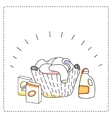 Laundry basket detergents vector image