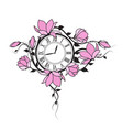 magnolia flowers and clock vector image vector image