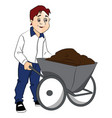man pushing cement in wheelbarrow vector image