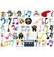music note people and animal vector image vector image