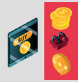 online shopping mobile phone money and basket vector image