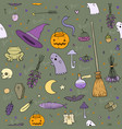 pattern for halloween in cartoon style vector image