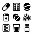 Pills and Capsules Icons Set vector image vector image