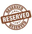 reserved brown grunge round vintage rubber stamp vector image vector image
