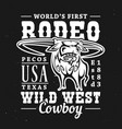 rodeo bull with wild west lettering t-shirt print vector image